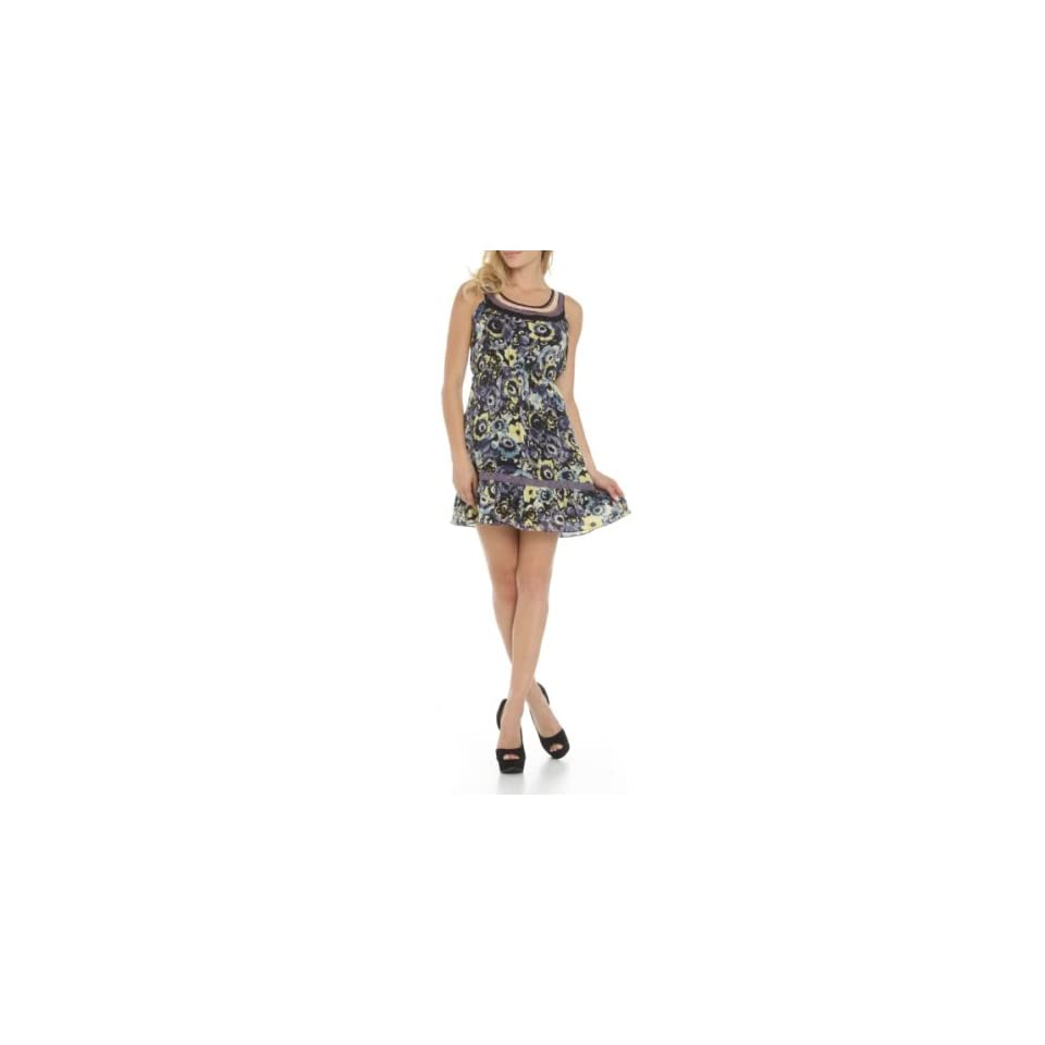 247 Frenzy Sleeveless Floral Print Dress   Purple (Small)