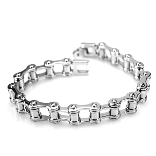 Men's Grey Titanium Bicycle Link Bracelet, 8