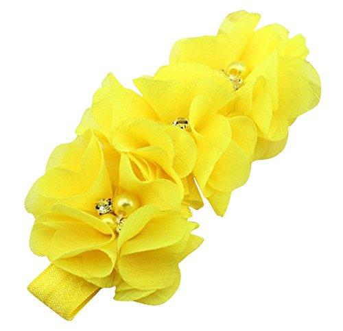 PinkXenia Yellow Chiffon Flower Pearl Embellished NewBorn BabyGirl Soft Elastic Headband