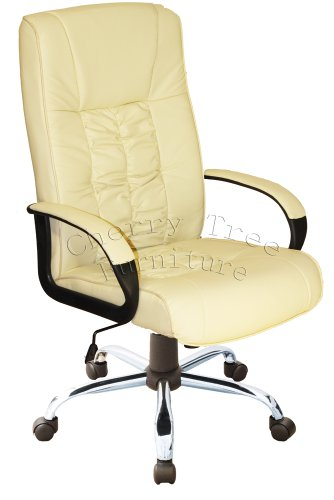 High Back Cream Color PU Leather Chrome Base Office Chair MO15CREAM
