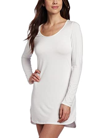 Splendid Intimates Women's Essential Long Sleeve Chemise, White, Large