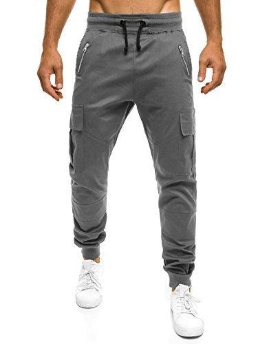 OZONEE Uomo Jogger Chino Jogging Pantaloni Cascante Pantaloni Sport Jogging Fitness ATHLETIC 707 - grigio, S