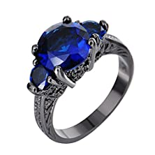 buy Junxin Jewelry Three-Stone Sapphire Blue Black Gold Promise Ring Round Cut Cubic Zirconia Size7
