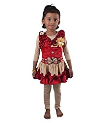 Motley Girls' Frock (4-5g_3-4 Years_Maroon _3-4 Years)