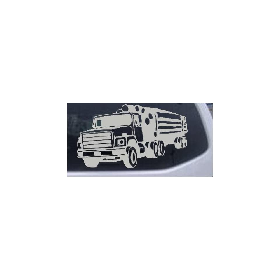 Logging Truck Business Car Window Wall Laptop Decal Sticker    Silver 22in X 12.7in