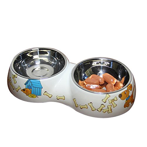Geekercity Fashion Dog And Cat Stainless Steel Double Diner Food Water Bowl (Small)