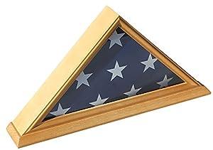 Flag Display Case Storage Shadow Box Showcase for 3'X5' folded Flag, Solid Wood FC35C-OAK