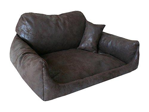 hundebett nemo kunstleder xl 90x120 wild braun schlafplatz hundesofa kissen. Black Bedroom Furniture Sets. Home Design Ideas