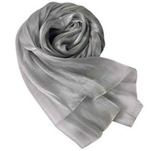 Imported Lady Women Long Soft Wrap Lady Shawl Silk Organza Scarf Scarves Silver Grey
