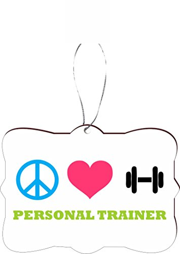 Rikki Knight Peace Love Personal Trainer Design Tree Ornament / Car Rear View Mirror Hanger