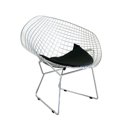 Bertoia Style Steel Wire Mesh Chair with Pad