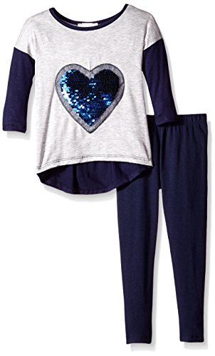 BTween Little Girls' Toddler Colorblock Top with Sequin Heart Applique and Legging, Navy/Heather Grey, 2T (Child Of Mine Clothes compare prices)