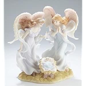 "Two Angels With Baby Jesus Statue - 8.25"" high - Stone Resin"