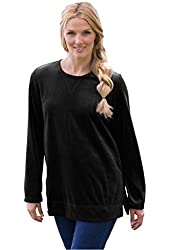 Woman Within Women's Plus Size Plush Tunic-Length Velour Knit Sweatshirt