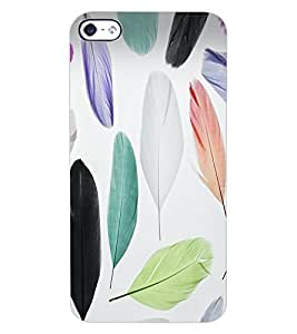ColourCraft Colourful Feathers Design Back Case Cover for APPLE IPHONE 4