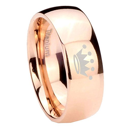8Mm Rose Gold Ip Titanium Crown Silver Dome Mens Ring Size 12