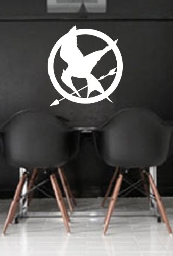 Hunger Games Mocking Jay Wall Art Sticker Decal Peel and Stick. White