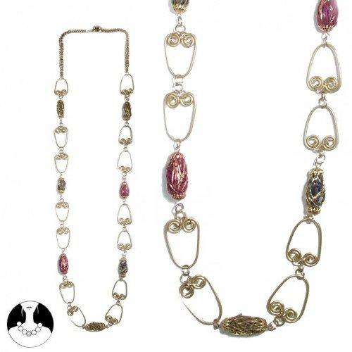 sg paris women necklace long necklace 100 cm purple combination metal/enamel/strass