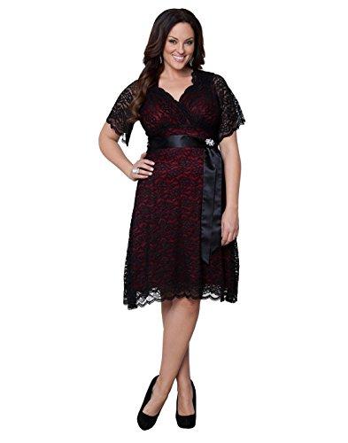 Kiyonna Women's Plus Size Retro Glam Lace Dress 0x Black Lace/Red Lining