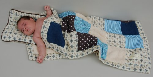 Designer Baby Blanket & Baby Pillow Patchwork Gift Set for Boys - Unique Baby Gifts