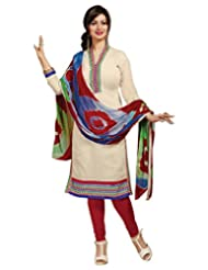 Surat Tex Cream Color Casual Wear Embroidered Chanderi Semi-Stitched Salwar Suit