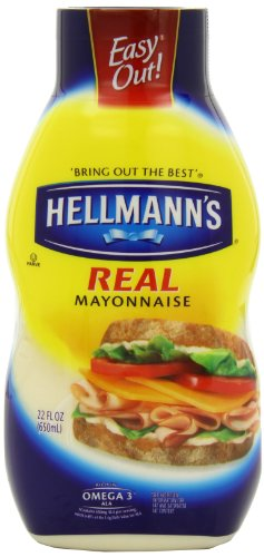 Hellmann's Real Mayonnaise, 22 Ounce Squeeze Bottle (Pack of 4)