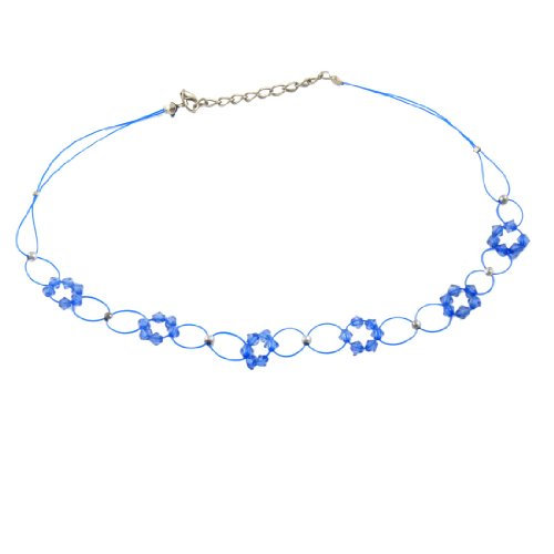 Rosallini Women Faceted Blue Plastic Beaded Flower Decor Necklace Gift