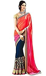 Morpankh enterprise Orange Georgette Saree ( nakasi 2d saree )