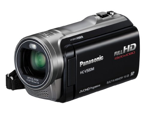 Panasonic V500M Full HD 1920 x 1080p (50p) 3D Ready Camcorder - Black (1MOS Sensor, 50x Intelligent Zoom, 16GB, Built-in Flash, SD Card Recording, Face Recognition) 3.0 inch LCD