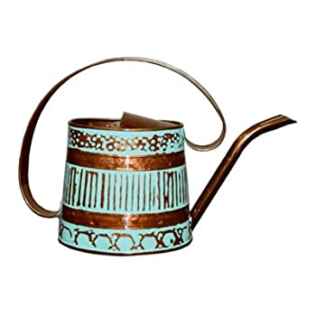 ROBERT ALLEN MPT01508 Danbury Metal Watering Can, Teal/Copper