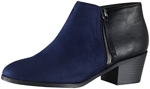 Soda Women's Uzona Two Tone Side Zip Bootie (9 B(M) US, Navy/Black) (Soda Shoes Women Wedges compare prices)