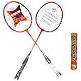 CB-95 Badminton Racket Pair With Field King Badminton Shuttle Cock ( Pack Of 10 )- Badminton Kit