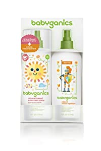 Babyganics Mineral-Based Sunscreen SPF 50 Spray 6 oz + Natural Insect Repellent 6 oz Combo Pack, Net Wt. 12 oz., Packaging May Vary