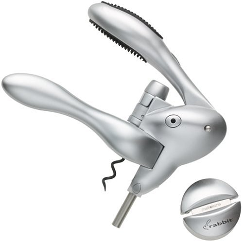 Metrokane Rabbit Silver Corkscrew - Soft & Comfortable Grip