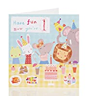 Kids Animals 1st Birthday Card