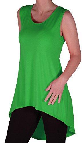 Eyecatch - Julina Frauen Lang Dip Weste Fischschwanz armellos Plus Size Damen Top Jade Grun Gr. 54/56