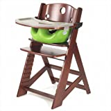 Height Right High Chair in Mahogany with Infant Insert with Tray in Lime