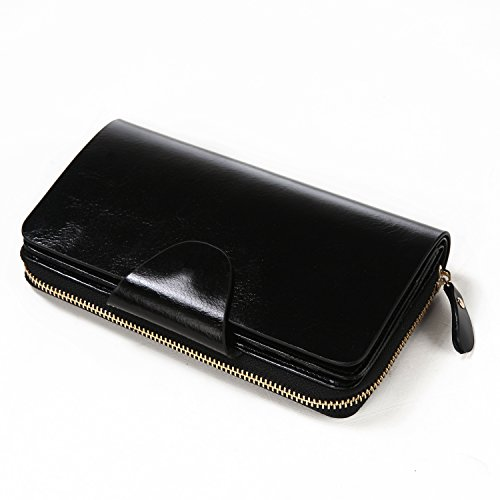 Big Clearance Sale—S-ZONE Unisex Organizer Wallet Genuine Leather Large Trifold Clutch Purse Card Case