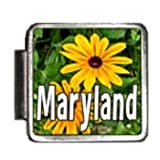 Maryland State Flower Black-Eyed Susan Photo Italian Charm Bracelet Link