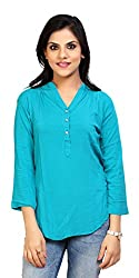 Carrel Brand Imported Cotton Fabric Solid 3/4 Sleeve Top with Button Sky Blue Colour Women L Size.