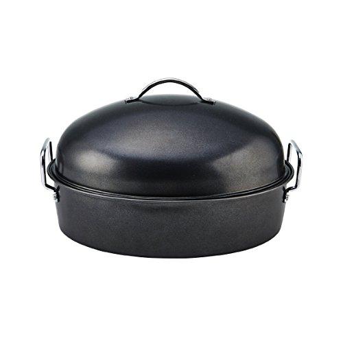 Cooks Advantage Roaster with Floating Slide Ease Rack, Medium, Gray