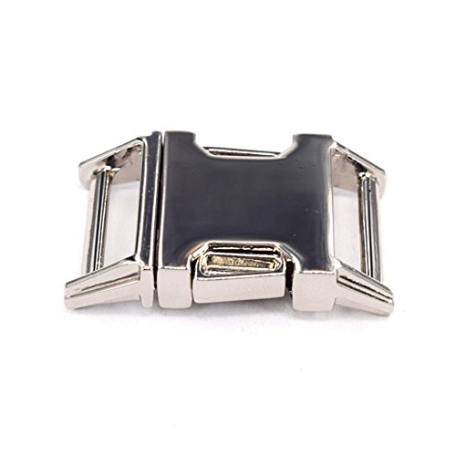 Silver 5/8 Inch Metal Curved Side Release Buckle Clasps for Backpack (2 Pack) (Silver Side Release Buckle compare prices)