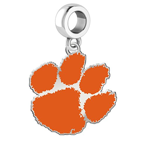Clemson Tigers Silver Logo and School Color Dangle Charm Fits All European Style Charm Bracelets