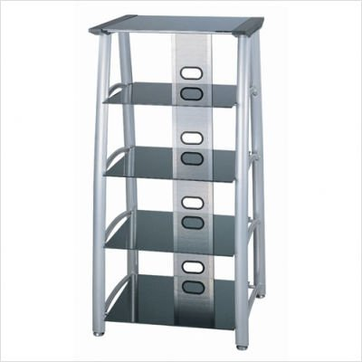 Lite Source Lsh-5608 Arch - 5 Tier Television Tower, Silver Chrome Finish Blackglass