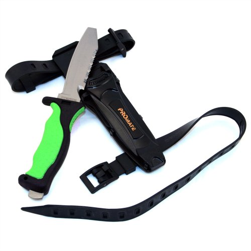 Promate Blunt Tip Titanium Dive Knife, Green, KF595