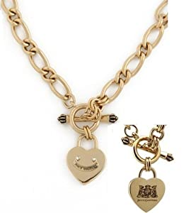 JUICY COUTURE HEART PADLOCK STARTER NECKLACE GOLD