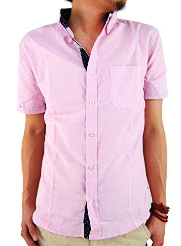 (アーケード) ARCADE メンズ 半袖 シャツ 大きいサイズ ドットテープ オックスフォード ボタンダウンシャツ カジュアル 半袖シャツ L ピンク(ドットテープ)