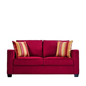 Handy Living MAD1-S83-AAA47 Madison Squared Arm Microfiber Sofa, Crimson Red With 2 Decorative Wine Striped Throw Pillows