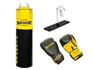 Fighter Box-Set inkl. Boxsack 120 x 35cm ungefüllt, PU Boxhandschuhe, Deckenhalterung und Heavy Duty Vierpunkt-Stahlkette
