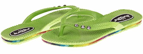 Chatties Girls Pcu Flip Flops With Rhinestone - Lime, Size 13 / 1 (More Colors and Sizes Available) Sequined Espadrille